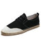 Men Canvas Splicing Breathable Hand Stitching Casual Fisherman Shoes - Black