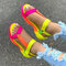 Tamanho grande feminino dedo aberto diariamente Soft sandálias rasteiras Gancho loop - Multi Color