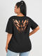 Butterfly Hollow Short Sleeve Plus Size Casual T-shirt - Black