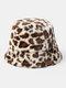Women & Men Felt Leopard Pattern Casual Soft All-match Outdoor Travel Bucket Hat - Yellow