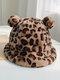 Women Faux Rabbit Fur Warm Soft Cute Casual All-match Animal Ear Pattern Bucket Hat - #01
