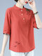 Chinese Style Embroidery Button Front Plus Size Blouse - Red