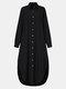 Frauen einfarbig Taschenknopf Revers Langarm Casual Bluse - Schwarz