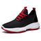 Men Knitted Fabric Comfy Breathable Running Sneakers - Black Red