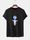 Mens Astronaut Chest Print Solid Color Loose Light O-Neck T-Shirts - Black