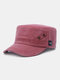 Men Solid Color Keep Warm Outdoor Flat Hat Military Hat - Wine Red