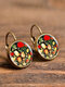 Vintage Flower Pattern Women Earrings Glass Printed Pendant Earrings Ear Hooks - #02