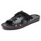 Men Pure Color Leather Slip Resistant Soft Sole Casual Beach Slippers - Black