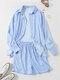 Striped Button Pocket Lapel Collar Long Sleeve Shirts & Shorts - Blue