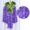 12 قطعة / المجموعة 100 سنتيمتر الزهور الاصطناعية الحرير الوستارية وهمية حديقة معلقة زهرة النبات كرمة ديكور الزفاف - أرجواني
