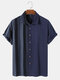 Mens Striped Patchwork 100% Cotton Casual Short Sleeve Shirts - Blue