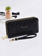 Women PU Leather Rose Floral Money Clips 6.5 Inch Phone Bag Wallet Purse - Black