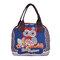 بومة الغداء مربع حقيبة تخزين حقيبة الغداء لطيف الحيوان نمط اليد نسج القماش حقيبة الغداء حقيبة يد
