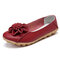 Women Flower Stitching Round Toe Slip On Comfort Casual Flats Loafers - Red