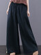 Embroidered Elastic Waist Wide-leg Plus Size Pants With Pockets - ネービー