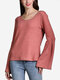 Solid Color Knitted Horn Sleeve Women Sweater
