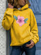 Calico Print Long Sleeve Casual Plus Size Hoodie - Yellow