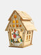 1Pc Christmas Wooden Christmas Lighted Wooden Cabin Creative Assembly Small House Decoration Luminous Colored Cabin - #05