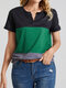 Contrast Color Notched Neck Pocket Patched Plus Size Casual T-shirt - Green