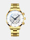Business Men Watch Steel Band Waterproof Calendar Quartz Watch - White Dial Gold Band