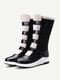 Plus Size Women Warm Lining Hook Loop Thick Sole Mid Calf Snow Boots - Black