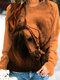 女性のための馬のプリント長袖Oネックカジュアルスウェットシャツ - カーキ
