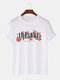 Mens Letter Floral Print 100% Cotton Casual Short Sleeve T-Shirts - White
