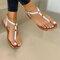 Large Size Women Casual Beach Lightweight Clip Toe Non Slip Flat Sandals - White