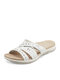 Plus Size Women Comfy Carved Hollow Out Hand Stitching Wearable Beach Casual Slippers - White