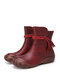 SOCOFY Retro Ethnic Lace Tassel Decor Cowhide Leather Slip Resistant Soft Side Zipper Casual Short Boots - Red