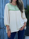 Contrast Color Stitch O-neck Casual Blouse for Women - Beige