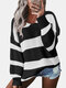 Contrast Color Striped Print Long Sleeves Sweater for Women - Black