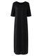 Solid Color O-neck High Slit Plus Size Dress for Women - Black