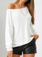 Solid Color Backless O-neck Long Sleeve Casual T-Shirt For Women - White