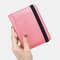 Women RIFD Genuine Leather 4 Card Slots 2 Cell Phone Card Multifunctional ID Package Money Clip Wallet Purse - Pink