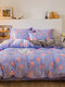 4Pcs Floral Overlay Print Three-dimensional 6D Carved Velvet Comfy Bedding Thickened Winter Warmth Double Milk Velvet Quilt Cover - #19