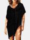 女性のかぎ針編みの中空カバーはプレーンVネックサイドスリットライト水着を持ち上げます - ブラック