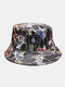Women & Men Double-Sided Koi Fish Embroidery Pattern Casual Bucket Hat - Gold