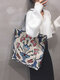 Casual Canvas Flower Print Pattern Multi-color Handbag Tote With Zipper Inner Pocket - #02