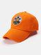 Unisex Cotton Embroidery Pattern Curve Brim Sunshade Fashion Baseball Hat - Orange
