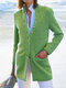 Casual Cotton Blended Long Sleeve Stand Collar Plus Size Coat - Green