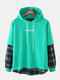 Mens Plaid Patchwork Letter Back Print Cotton Casual Drawstring Hoodies - Green