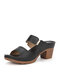 Women Solid Color Causal Buckle Chunky Heels Outdoors Comfortable Slippers - Black