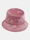 महिलाओं की कढ़ाई तितली पैटर्न प्रिंट आरामदायक Soft आउटडोर यात्रा बाल्टी टोपी - गुलाबी