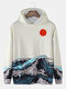 Mens Sun Waves Landscape Print Japanese Style Daily Pullover Hoodie With Kangaroo Pocket - White