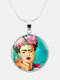 Printed Woman Black Cat Glass Pendant Men Women Long Necklace Jewelry Gift - #11