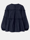 Solid Color Puff Sleeves Patchwork Casual Blouse For Women - Navy