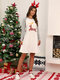 Women Christmas Contrast Color Raglan Sleeve Casual Home Lounge Nightgown - Gray