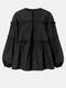 Solid Color Puff Sleeves Patchwork Casual Blouse For Women - Black