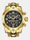 Large Dial Men Business Watch Multifunctional Luminous Calendar Waterproof Quartz Watch - Black Dial Gold Band